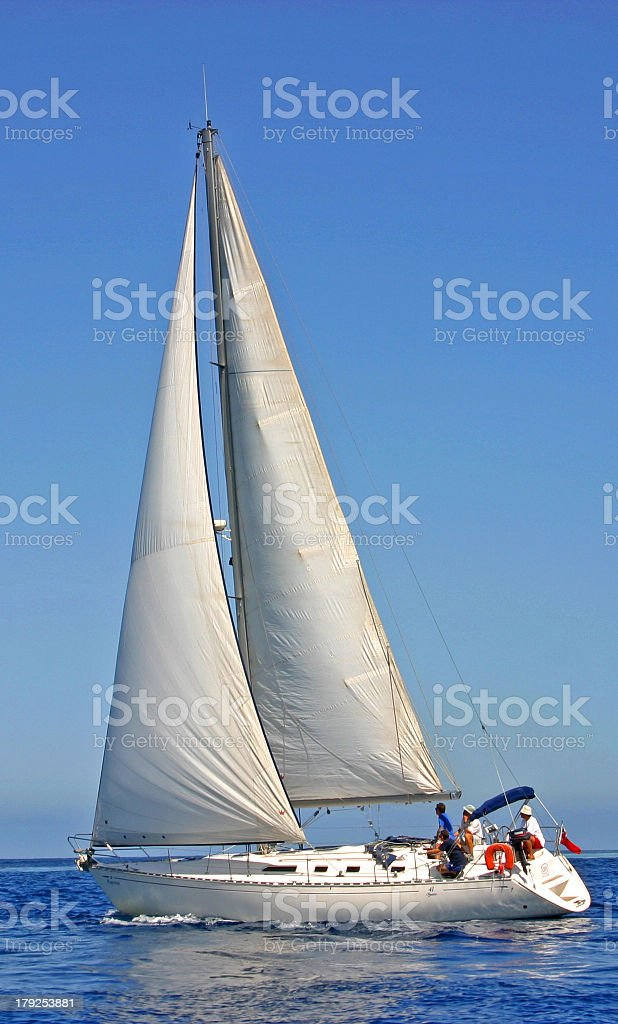 A large sailing boat on the ocean stock photo