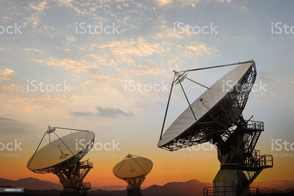 Large satellite antennae stock photo