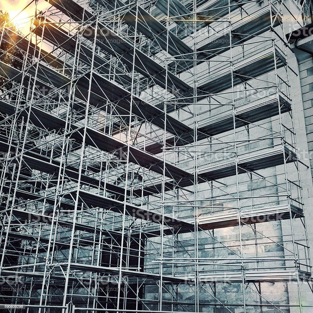 Large scaffolding on many levels stock photo