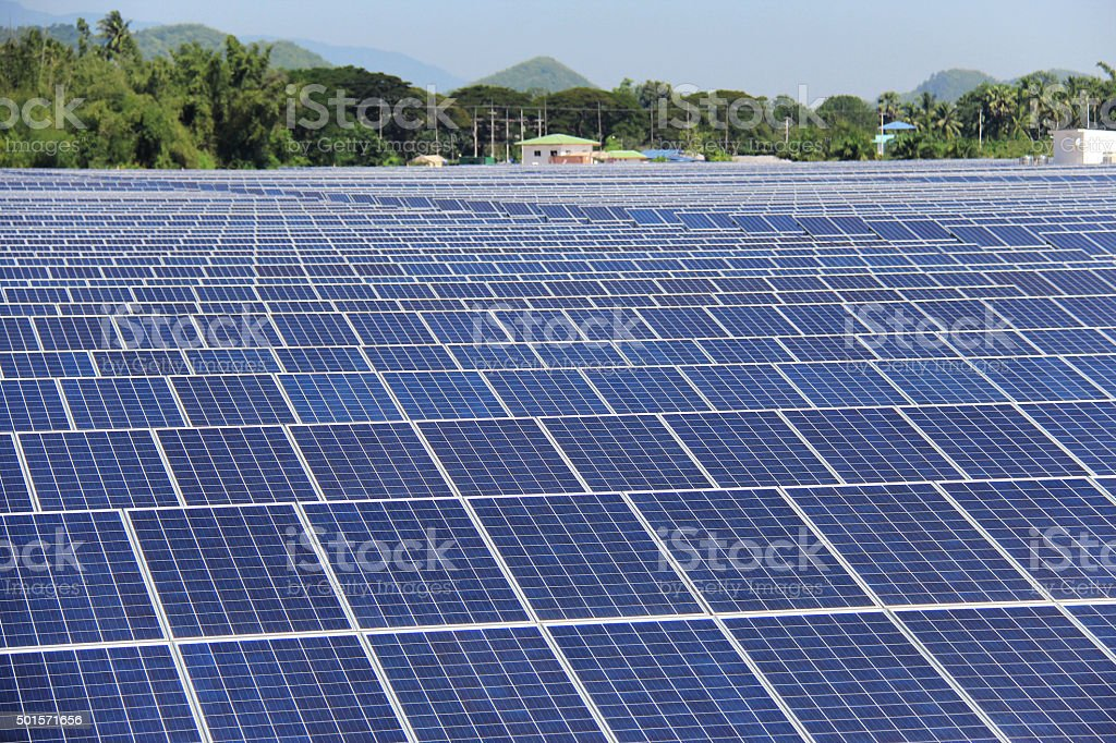 Large Scale On-ground Solar PV Power Plant stock photo