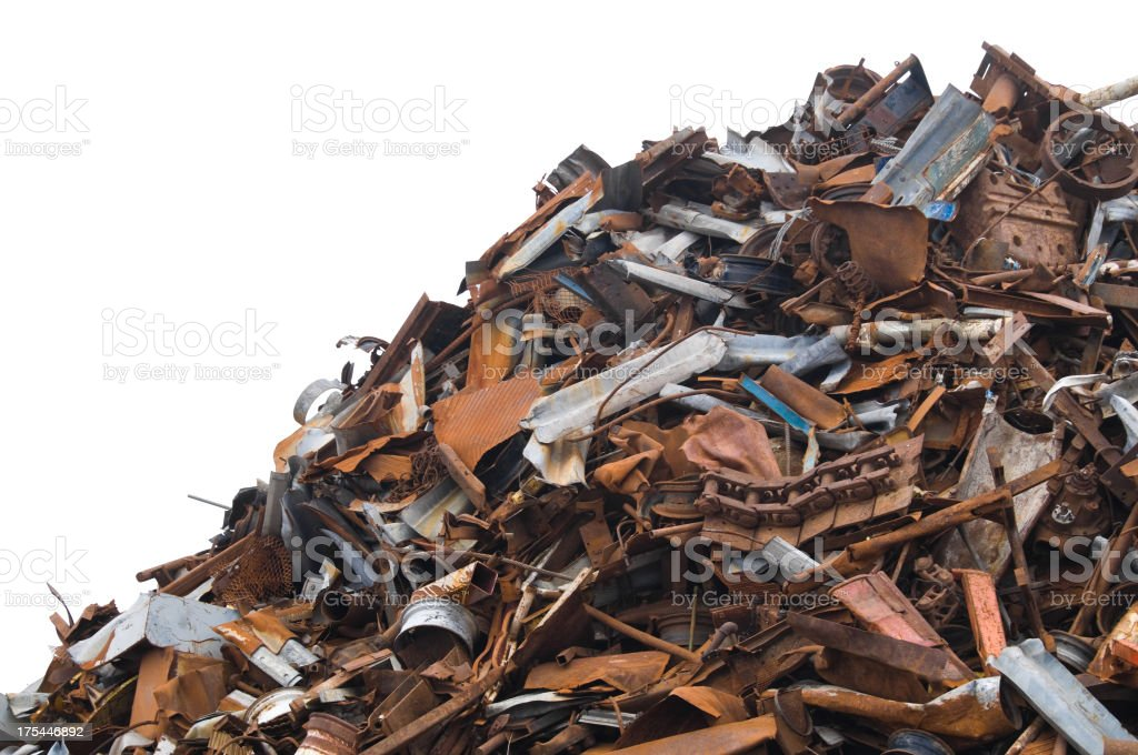 A large scrap metal pile on a white background stock photo