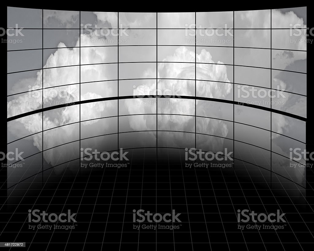 Large Screens with Clouds stock photo