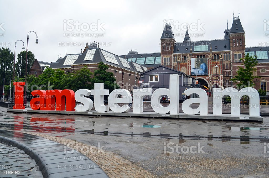 Large sculpture in Amsterdam stock photo