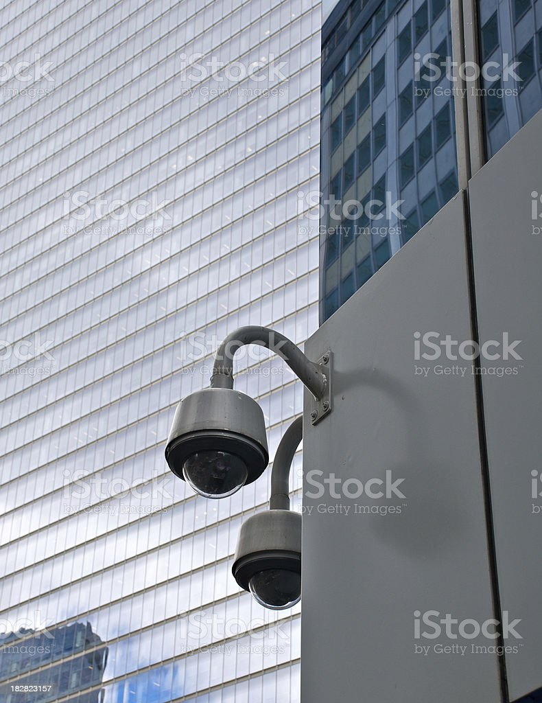 CCTV - Large security cameras overlook plaza, NYC royalty-free stock photo
