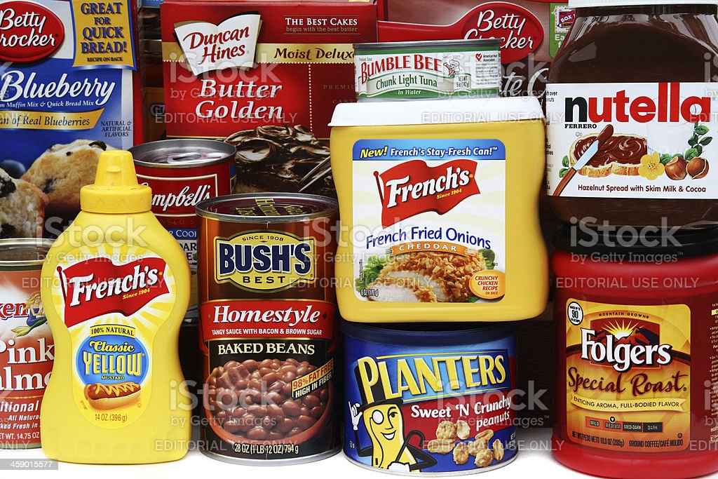 Large selection of brand name groceries stock photo