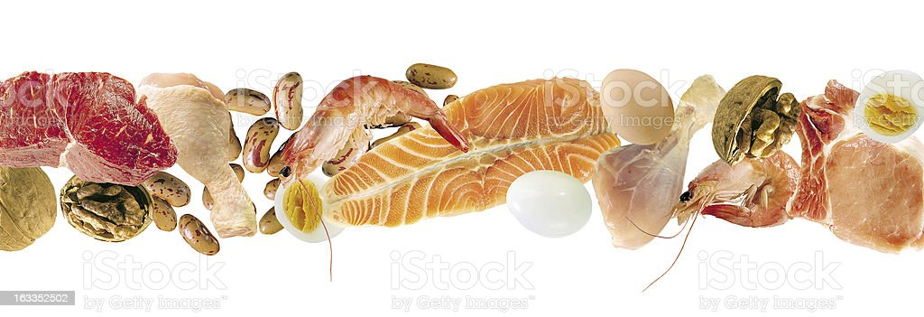 A large selection of seafood on a white background stock photo