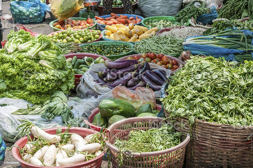 Large Selection Of Vegetables At A Street Market royalty-free stock photo