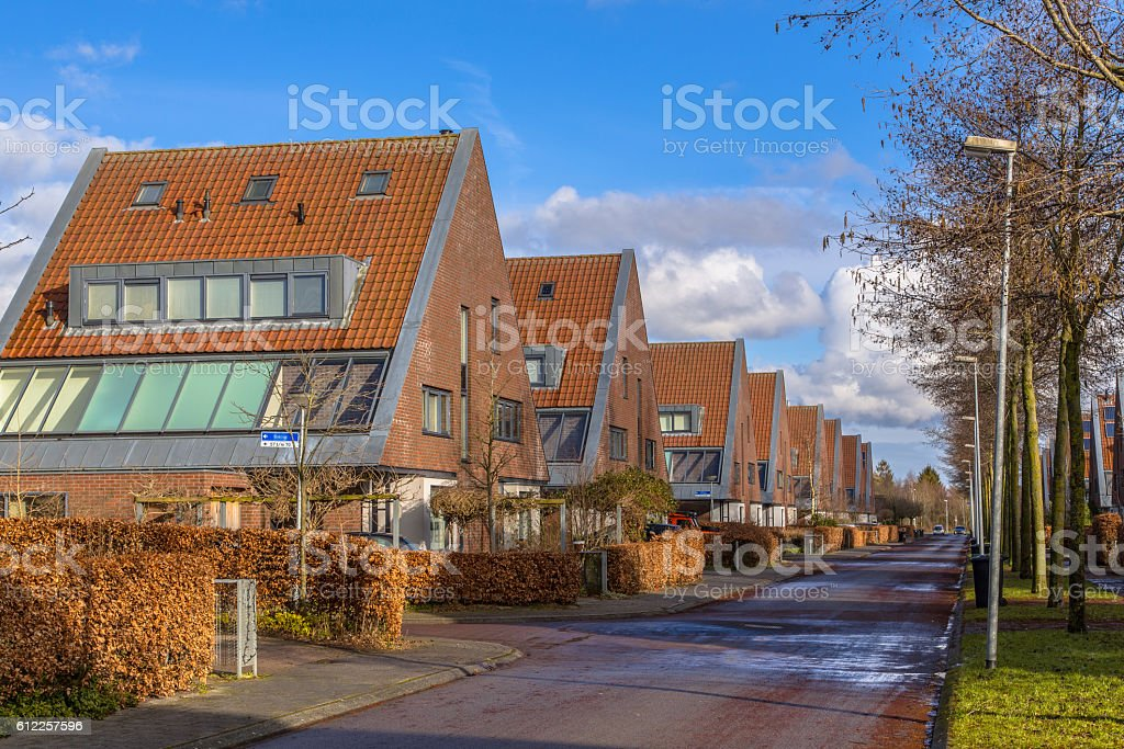 Large semidetached middle class family houses stock photo