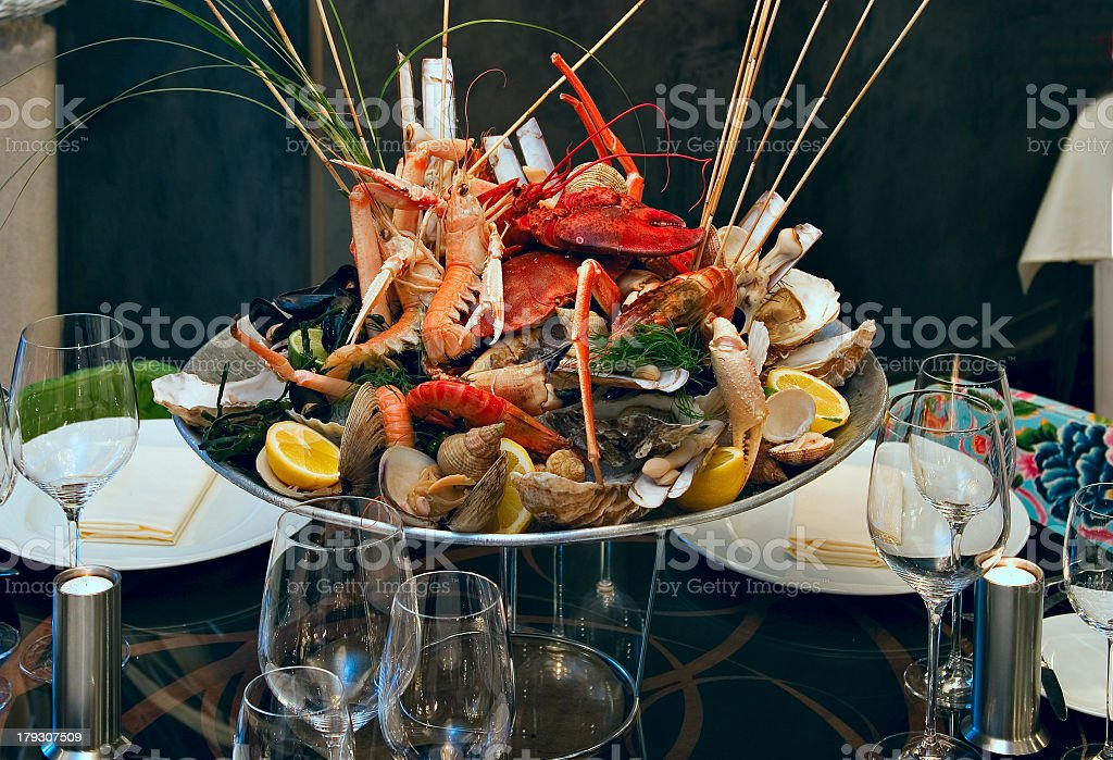 A large serving of various seafood dishes and mussels stock photo
