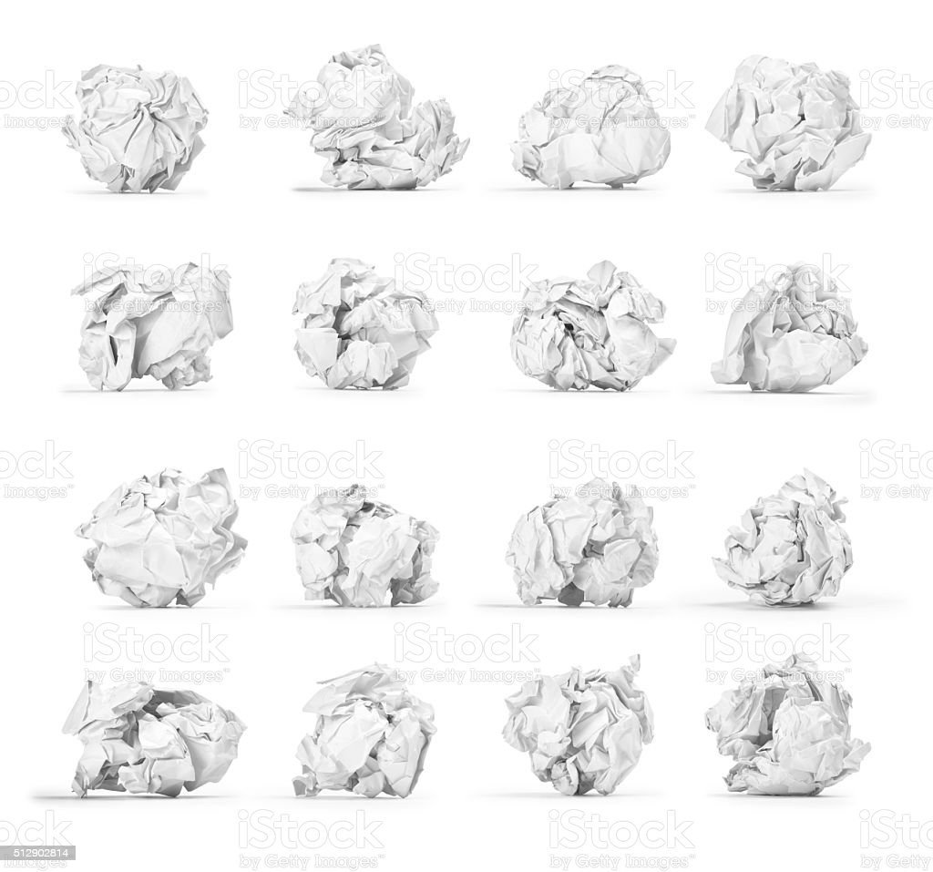 large set of crumpled paper ball isolated on white background stock photo