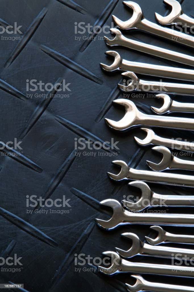 Large Set of Small Wrenches stock photo