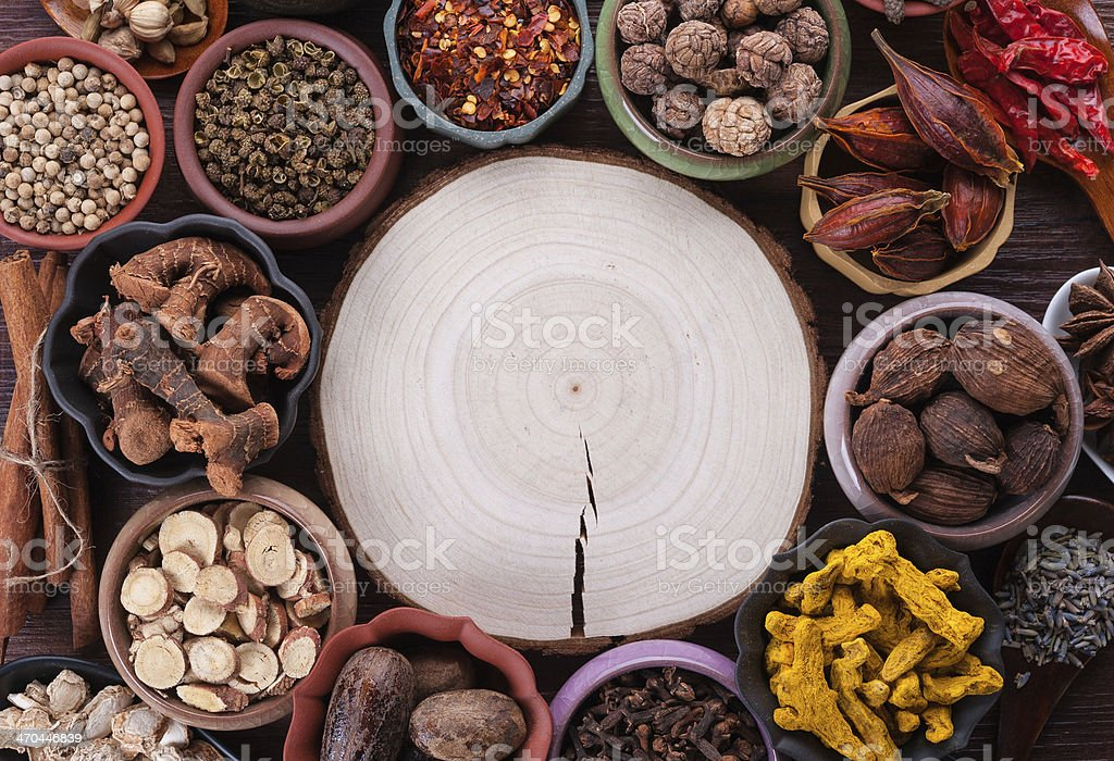 Large set of spices and seasonings royalty-free stock photo