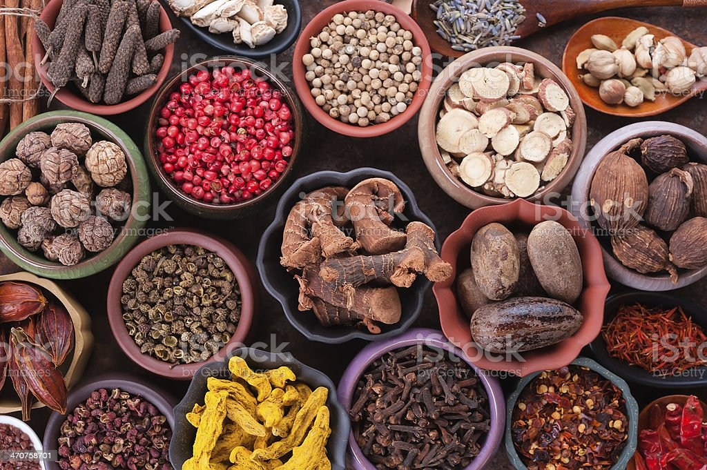 Large set of spices and seasonings stock photo