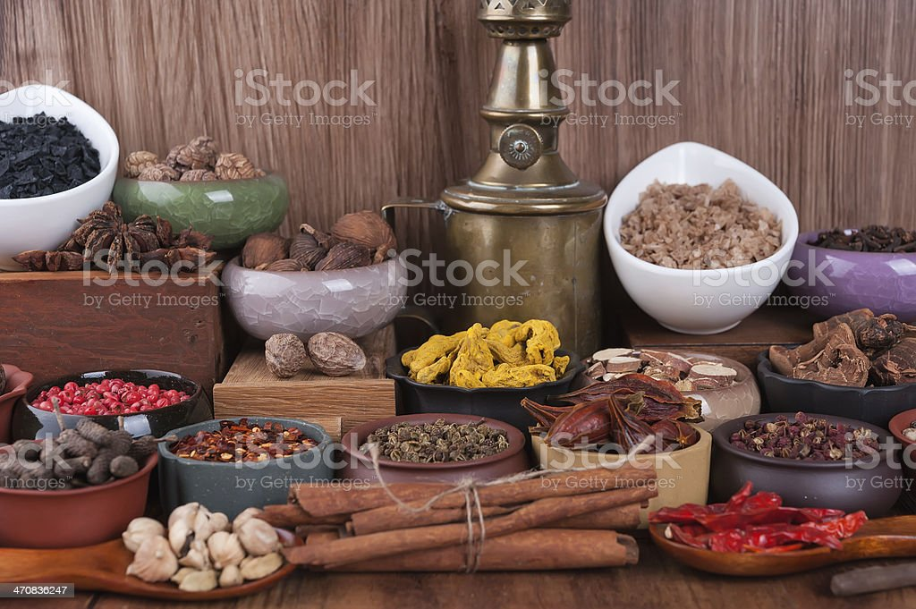 Large set of spices, seasonings and salt stock photo