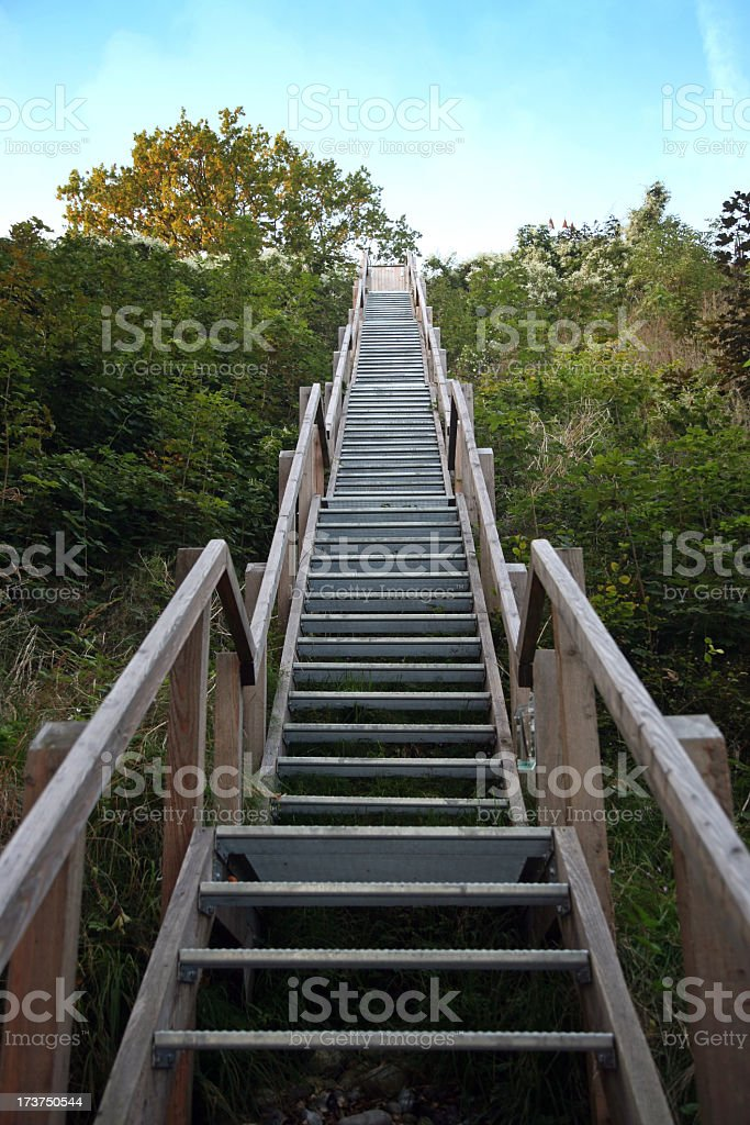 Large set of steep stairs with grass and bushes on the sides stock photo