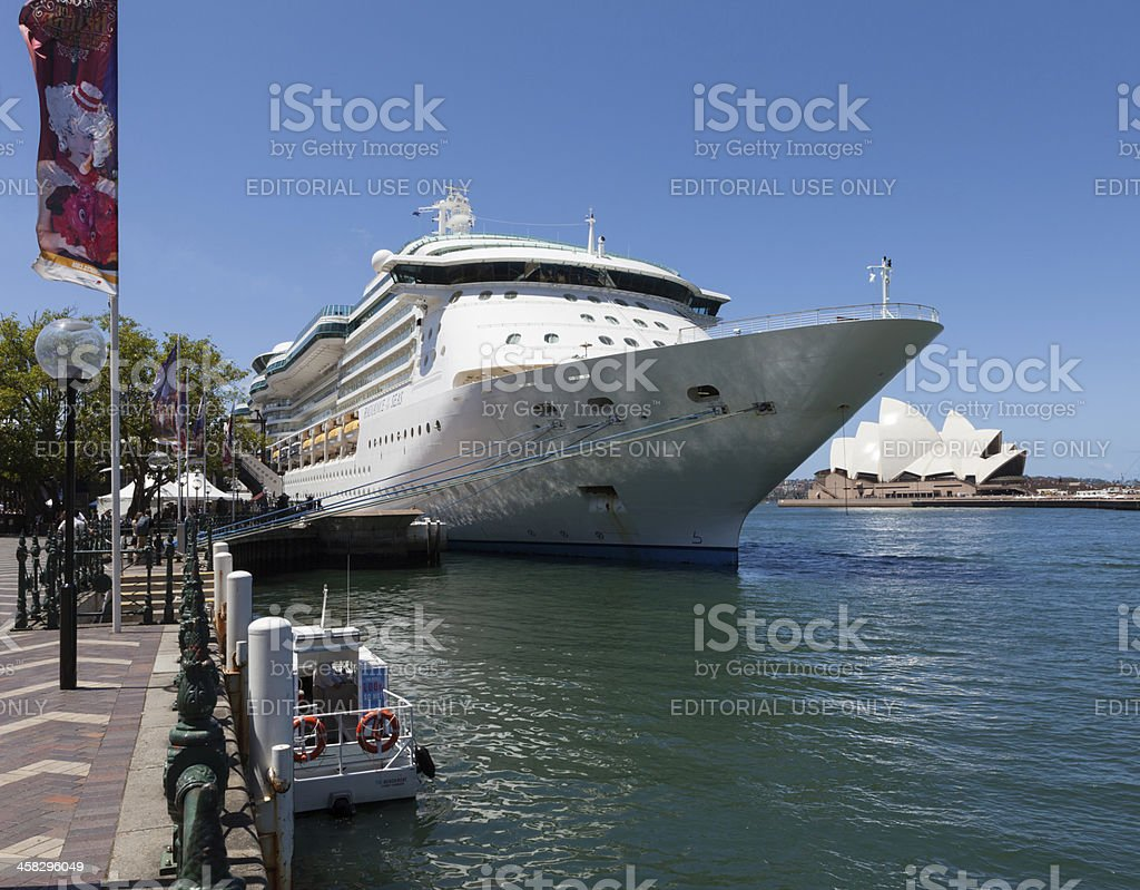 Large ship in Sydney Harbour stock photo