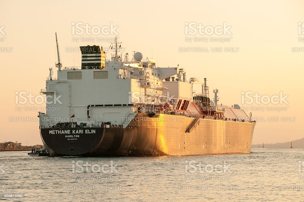 Large ship in the Suez Canal in Egypt stock photo