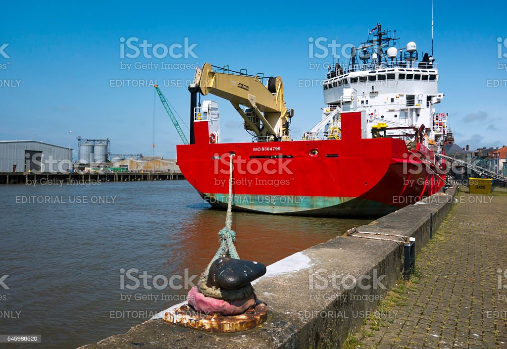 Large ship moored by Great Yarmouth quay stock photo