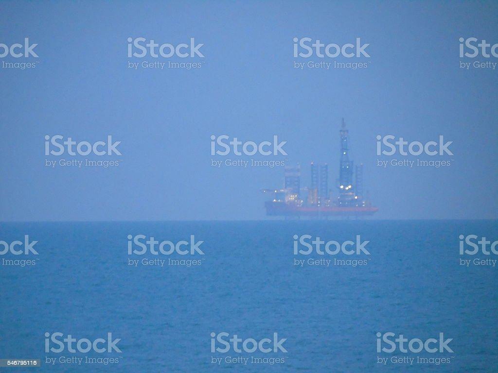 Large ship on Brighton's horizon, sea stock photo