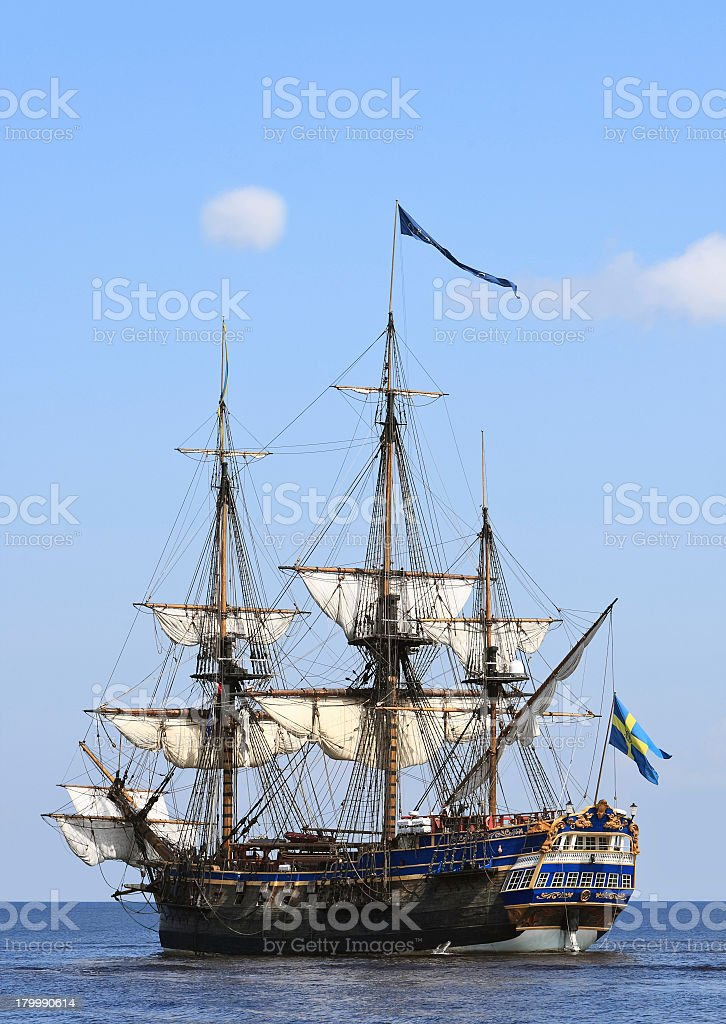 A large ship sailing at sea in the summer stock photo