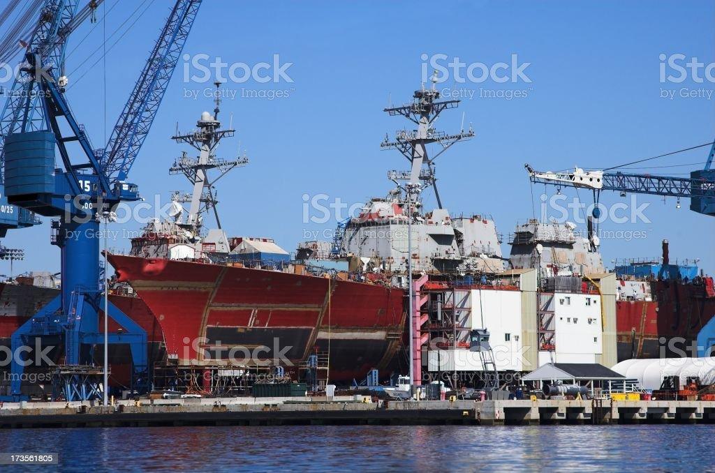 Large ships and cranes at sea port stock photo