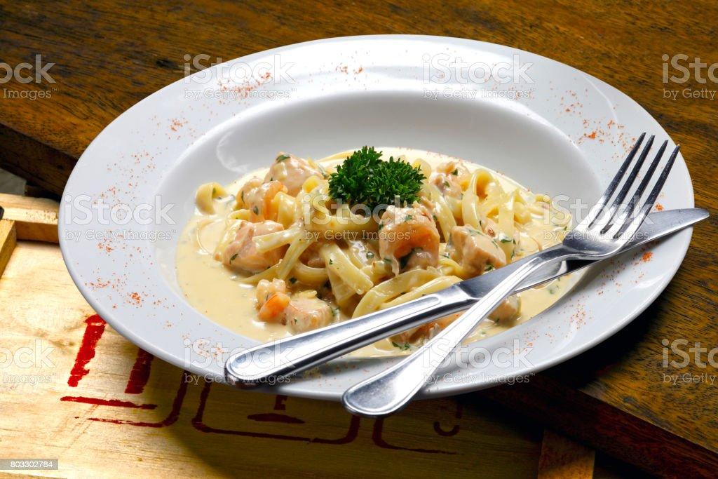 Large shrimp with pasta stock photo