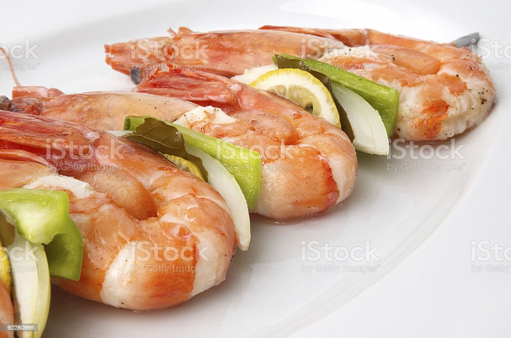 large shrimps with vegeables royalty-free stock photo