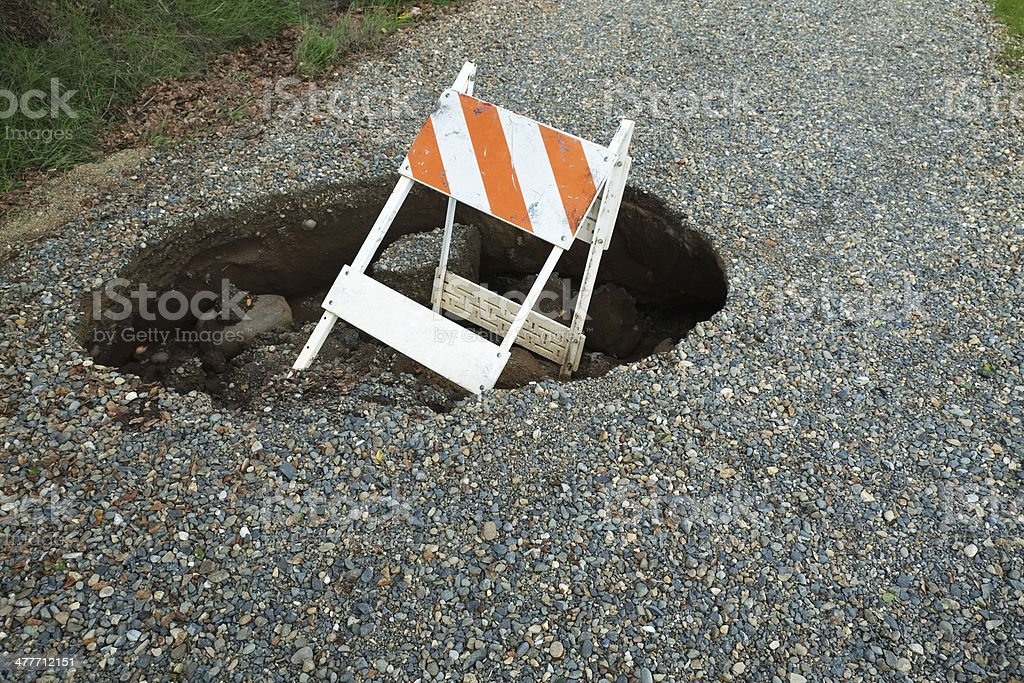 Large Sinkhole in Gravel Road stock photo