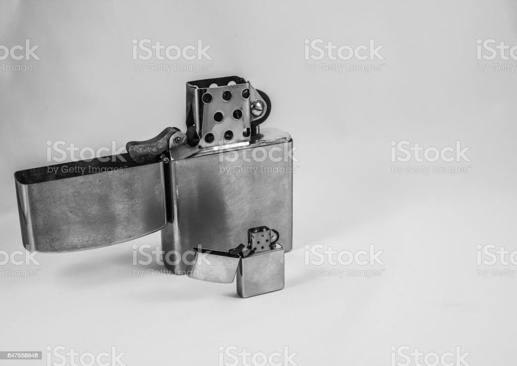 Large & Small Flip Top Lighters stock photo
