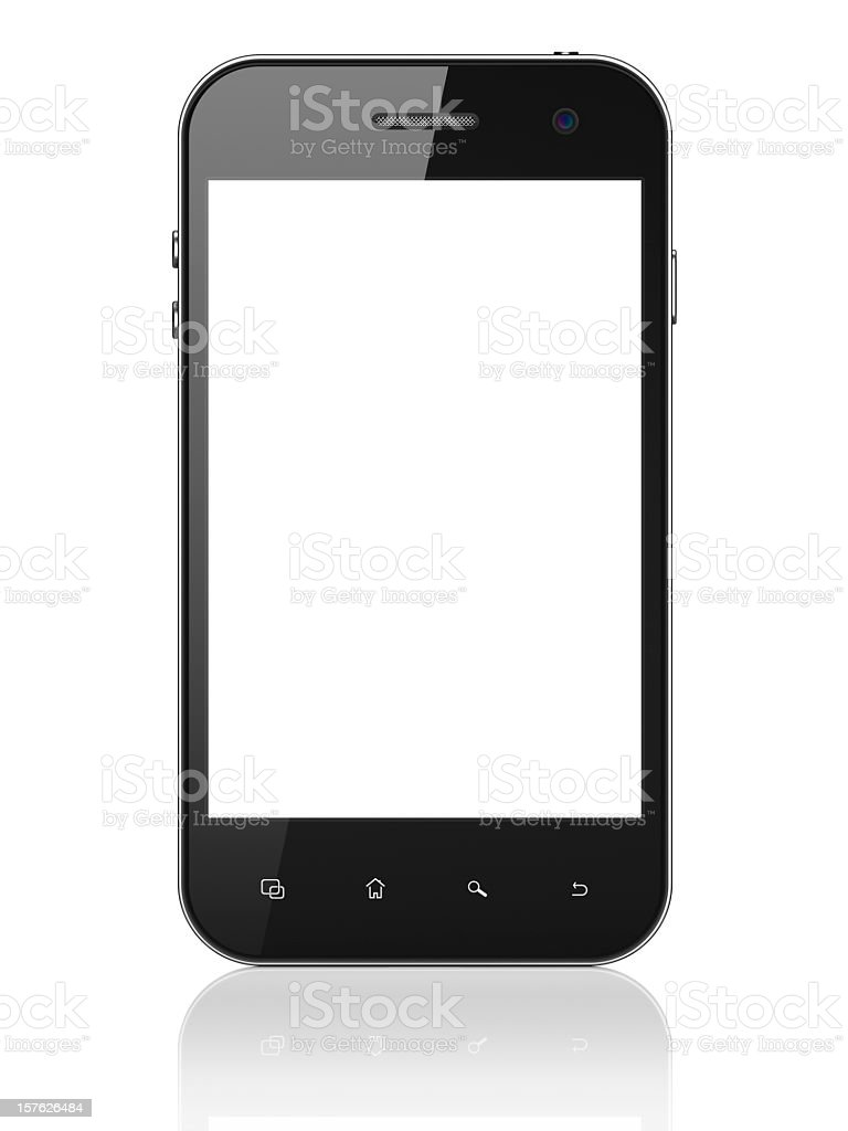 A large smartphone on a white background with blank screen stock photo