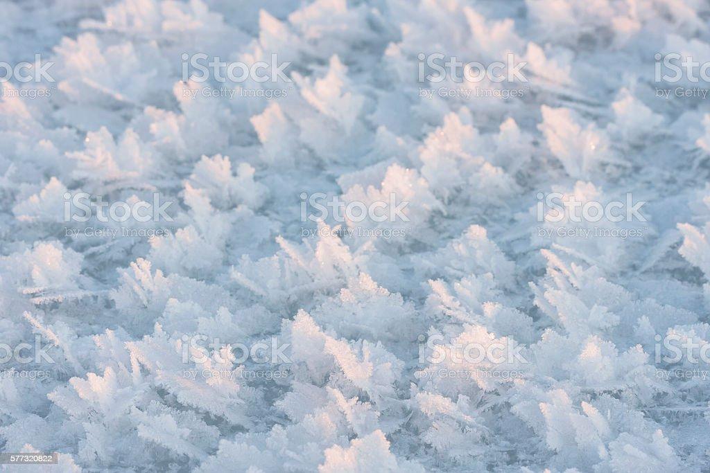 Large snow crystals closeup stock photo