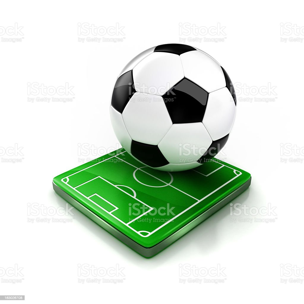 Large soccer ball sitting on small soccer field royalty-free stock photo