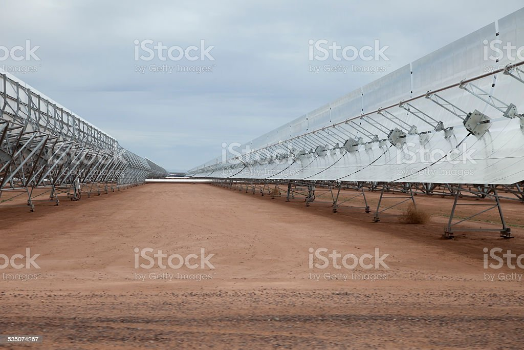 Large Solar Concentrator Array in the Arizona Desert stock photo
