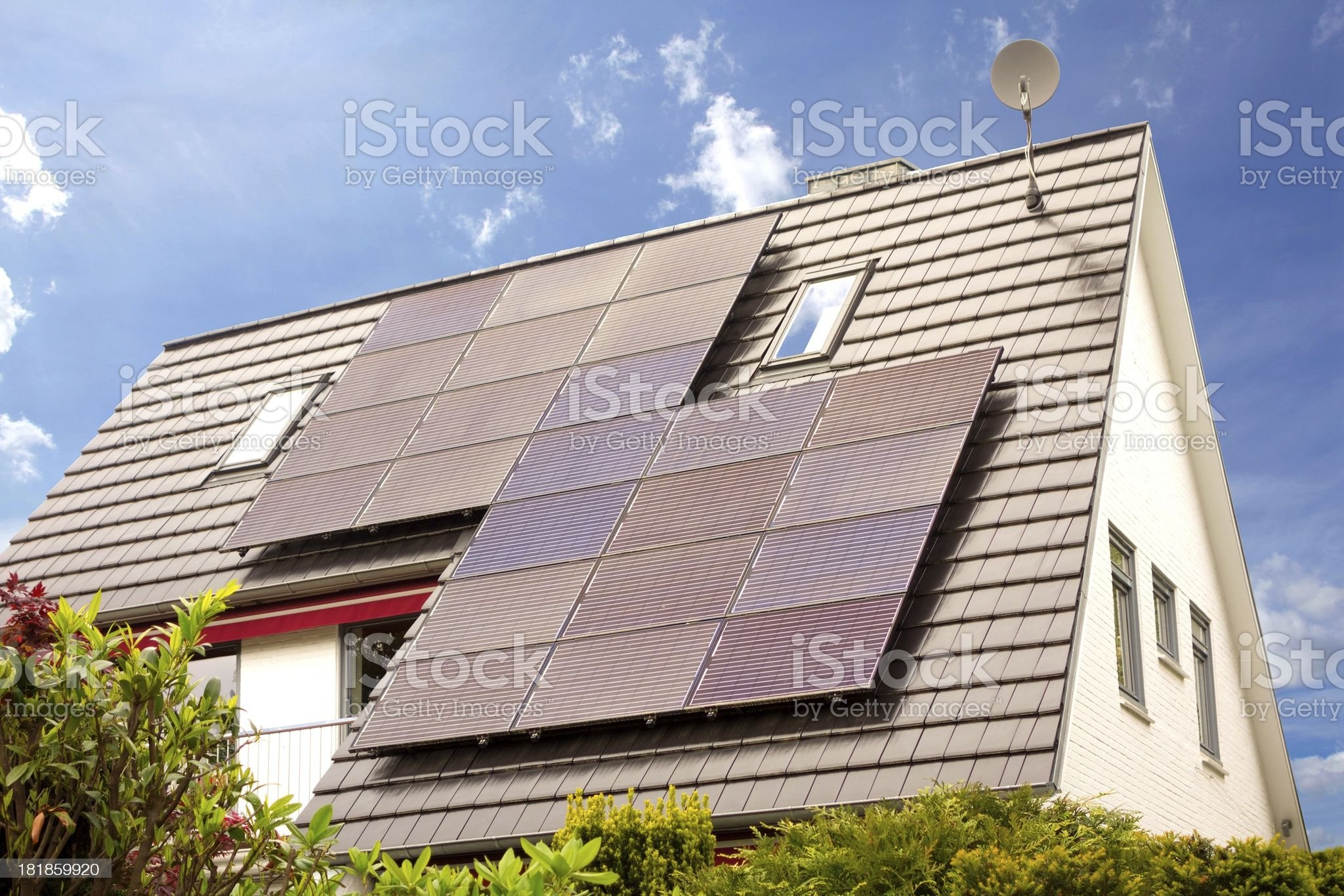 large solar panel on a rooftop royalty-free stock photo