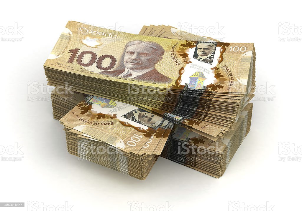 Large stack of Canadian one hundred dollar notes stock photo
