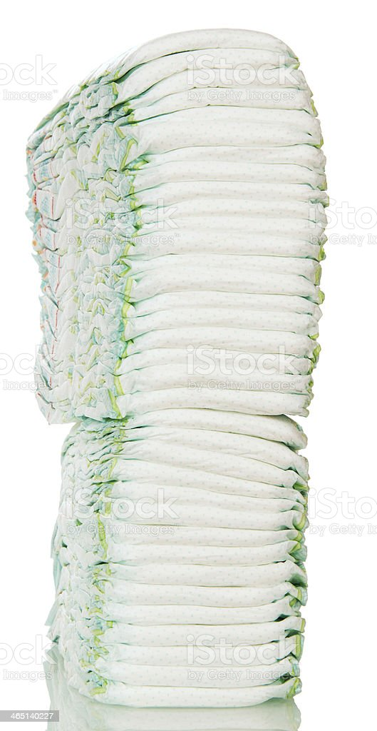Large stack of diapers stock photo