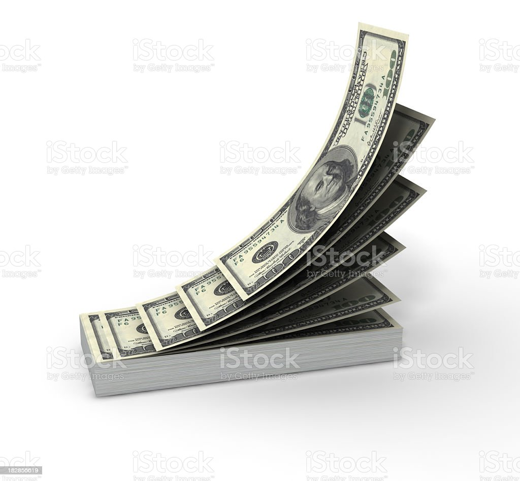 A large stack of dollar bills on a white background stock photo