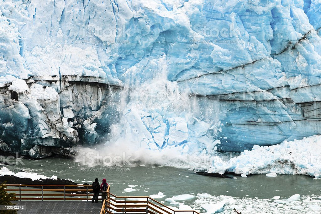 Large stack of ice falling from the Perito Moreno Glacier royalty-free stock photo