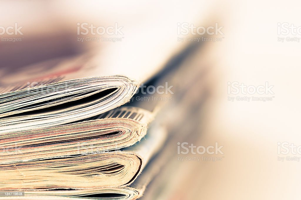 large stack of magazines piled high. royalty-free stock photo