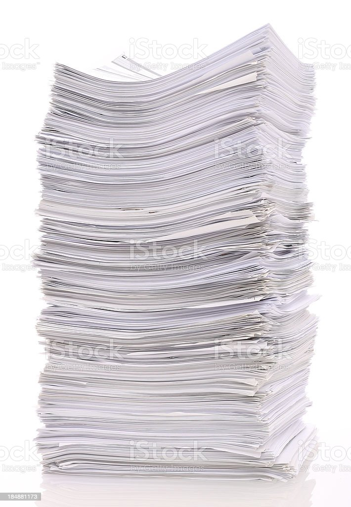 Large stack of papers royalty-free stock photo