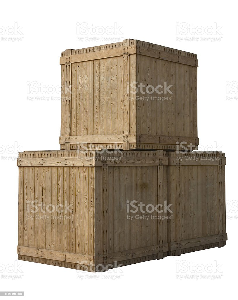 Large stacked wooden packing crates on white royalty-free stock photo