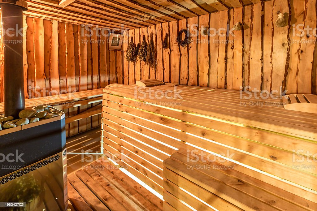 Large standard-design classic wooden sauna interior stock photo