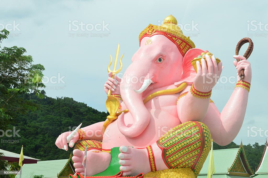 Large statue of Ganesh pink stock photo