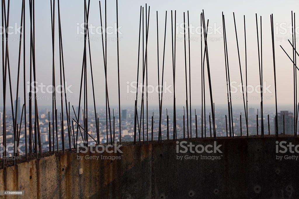 Large steel metal rods atop of an abandoned building, Bangkok stock photo