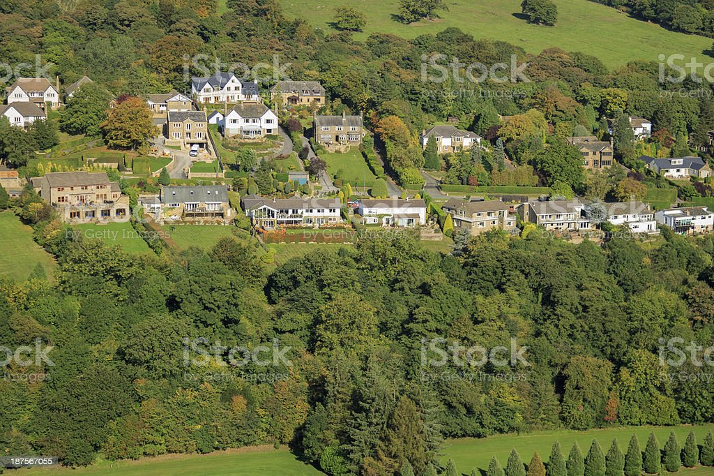 Large suburban houses from above royalty-free stock photo