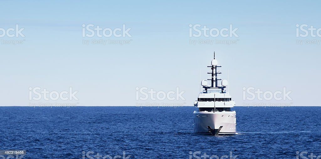 large Super Yacht at anchor stock photo