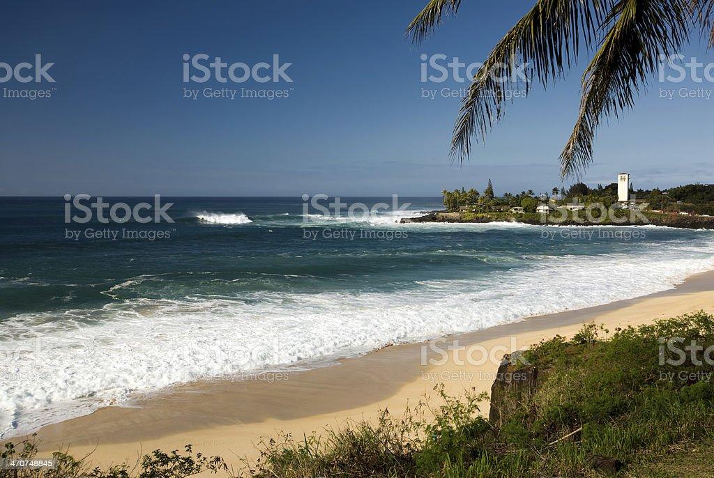 Large surf at Waimea bay, North Shore of O'ahu, Hawaii stock photo