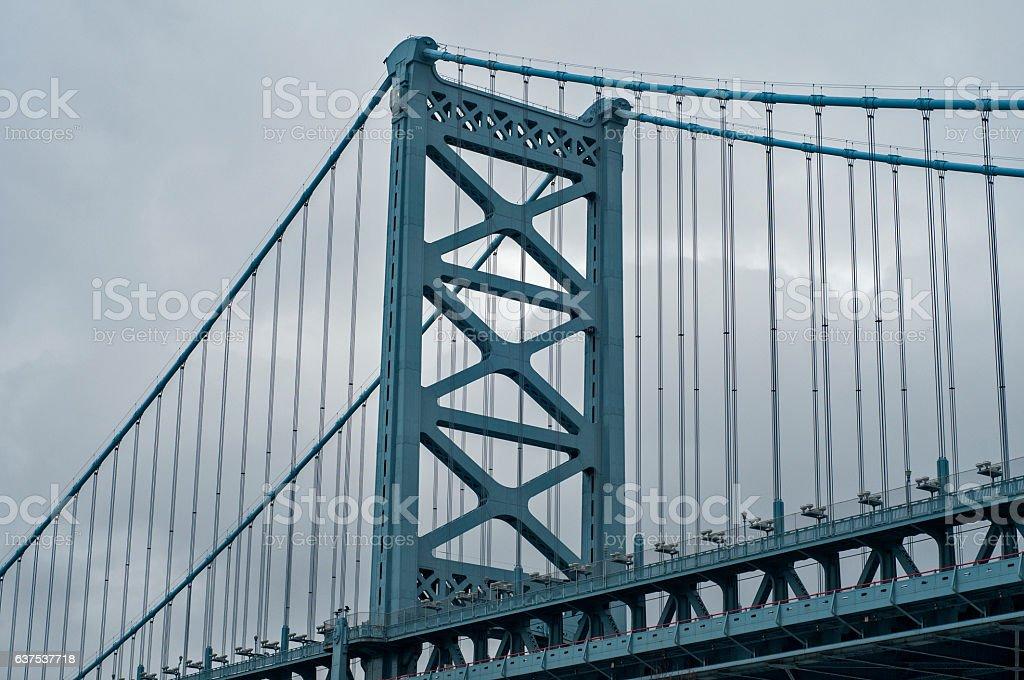 Large suspension bridge stock photo