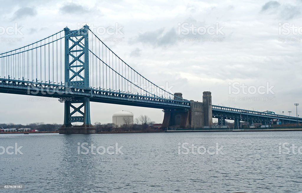 Large suspension bridge stock photo