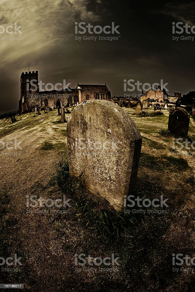 Large Tombstone in a Graveyard stock photo
